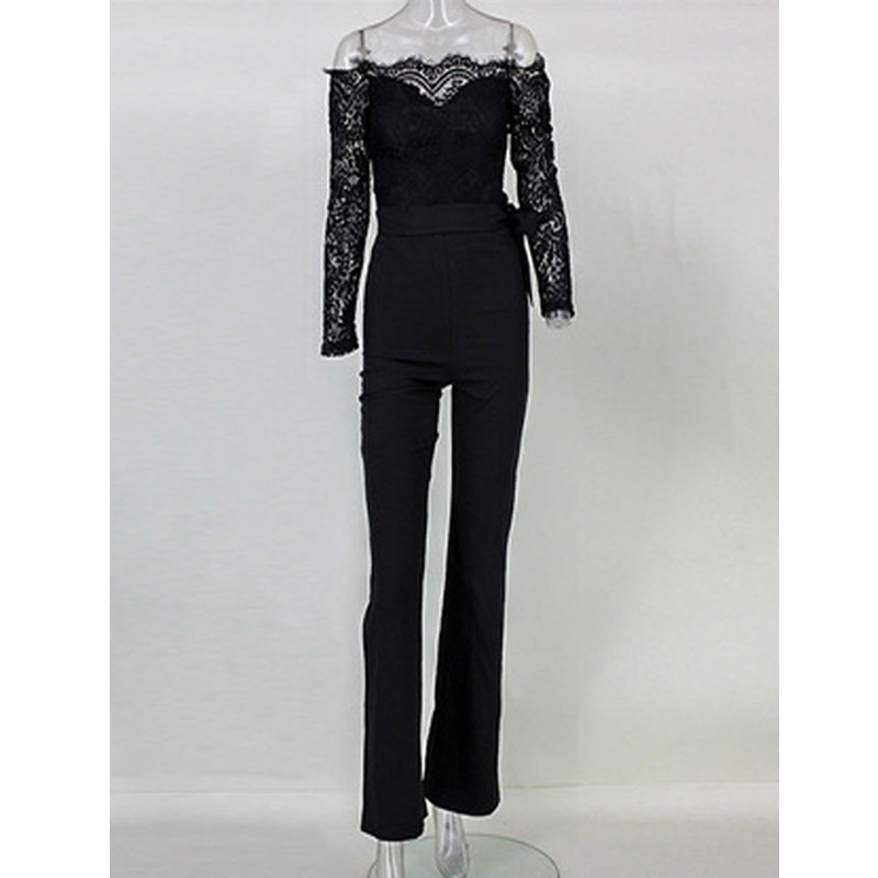 New Summer Jumpsuits  Bodysuit Long Sleeve Lace Bodysuit Formal Office Lady Style White Black And Blue 3 Color Sexy Jumpsuits
