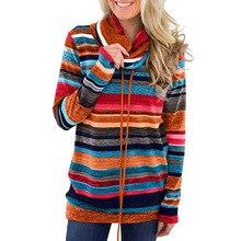 new hot American style long sleeve casual woman sweatshirt fashion striped pullover turtleneck slim female