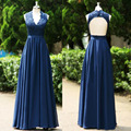 Free Shipping Navy Blue V Neck Lace Dress Backless Formal Long Gowns Convertible Bridesmaid Dress Mother of Bride Dress BD230