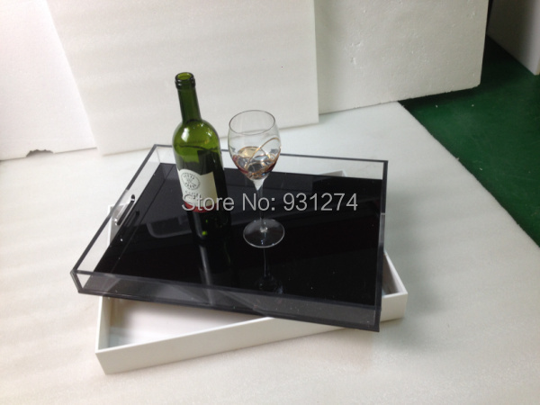 New Acrylic Fruit Trays Lucite wine glass bottle serving tray Home Sundries Tray in Storage Trays from Home Garden