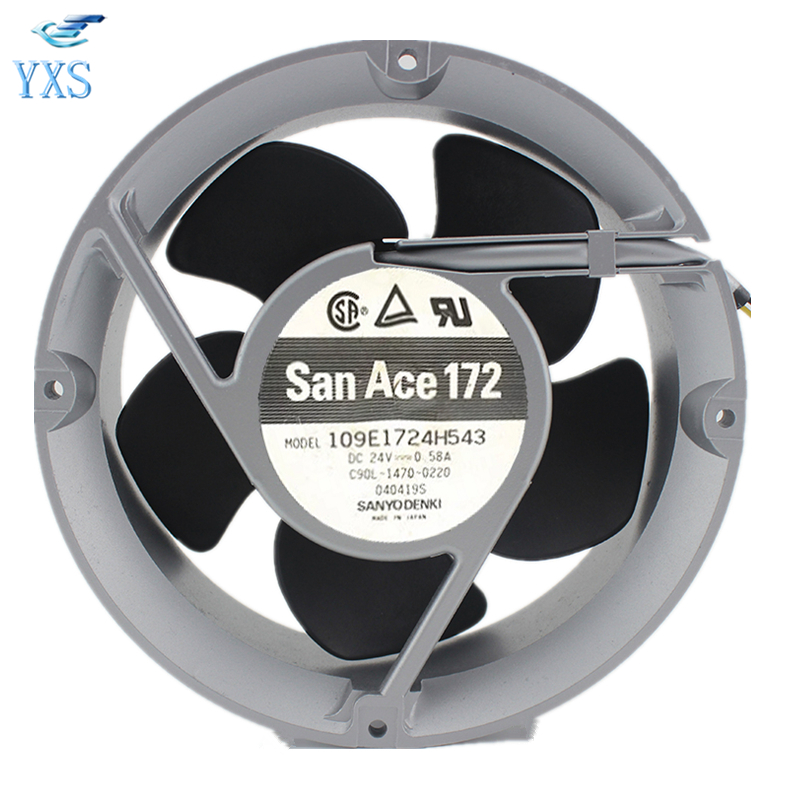 109E1724H543 DC 24V 0.58A 17251 17CM 172*172*51mm 3 Wires Double Ball Bearing Cooling Fan
