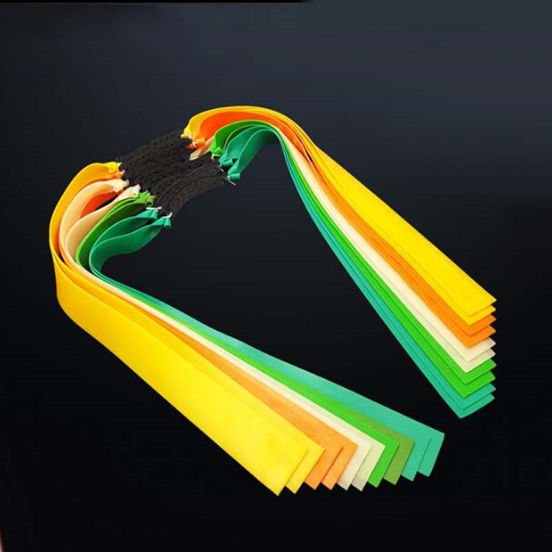 3pc Slingshots Flat Rubber Band Thicknes 0.5-0.8mm 8 Color Catapult Natural Latex Flat Elastic Resilient For Shooting