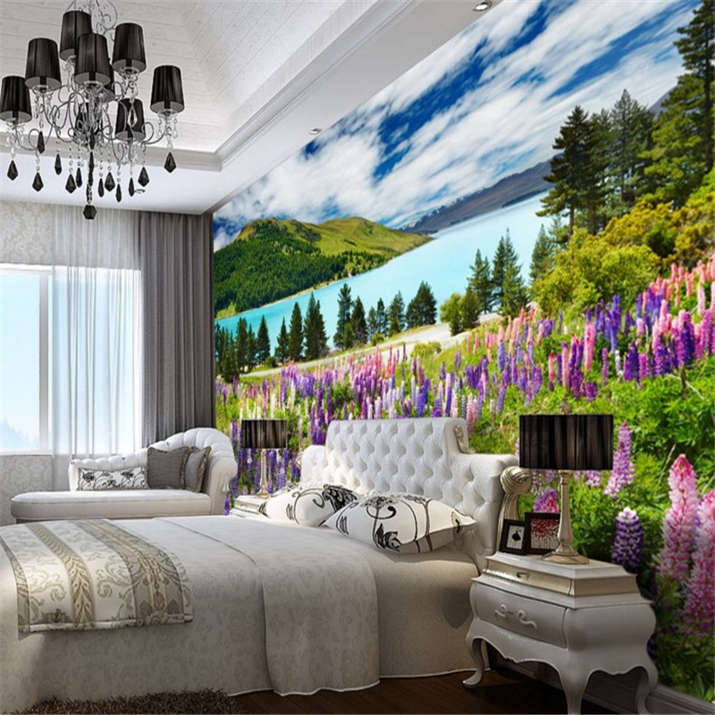 US $8.7 42% OFFBeibehang Besar Wallpaper Kustom Wonderland Pemandangan  Romantis Bunga Lukisan Pemandangan Kamar Tidur Latar Belakang-in Wallpaper