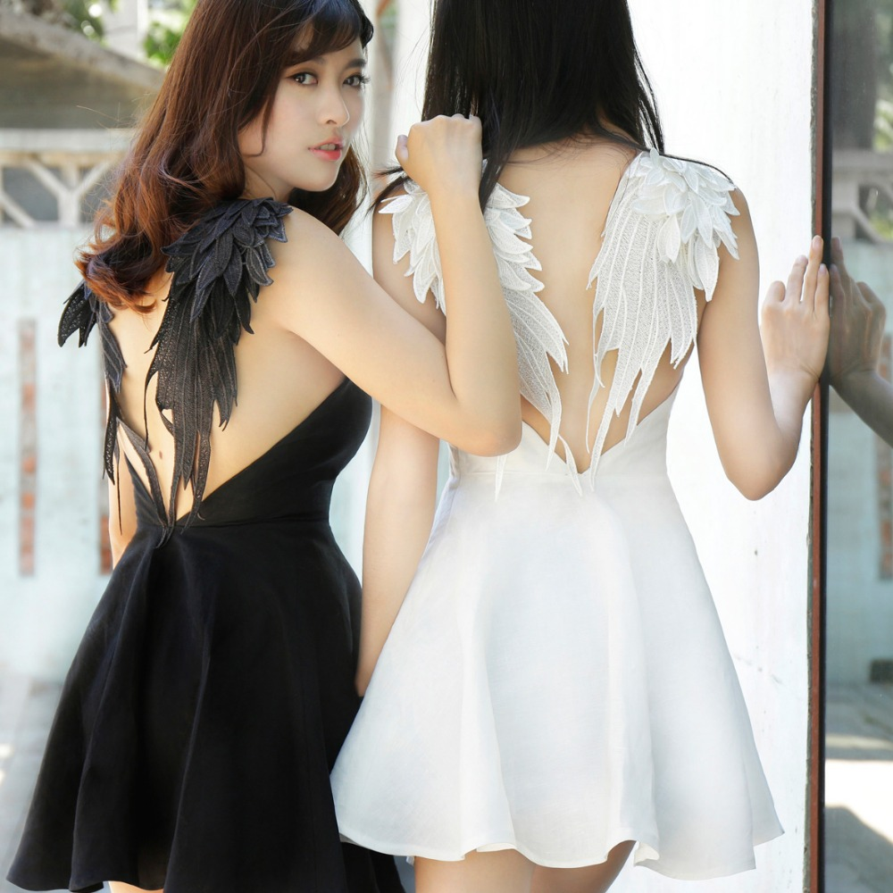 New Sexy Women Lace Dress Black White Angel Style Beach V neck A line Dresses Short
