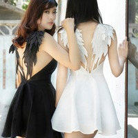 New Sexy Women Lace Dress Black White Angel Style Beach V neck A line Dresses Short Mini Wings Back Party Club Dress XS S M L