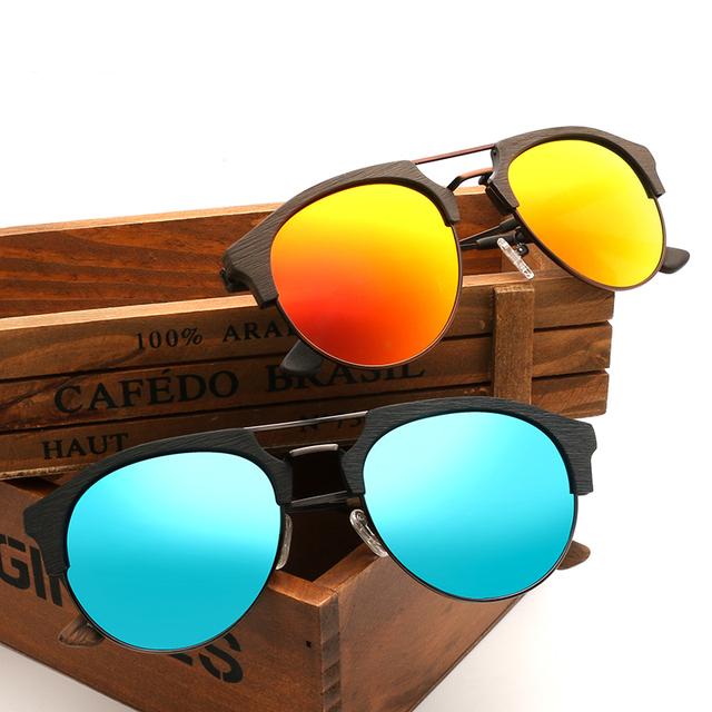 Unisex Wood Look Half Frame Sunglasses
