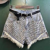 women Fashion Vintage Tassel Rivet Ripped Loose High Waisted Short Jeans Punk Sexy Hot Women Denim Shorts