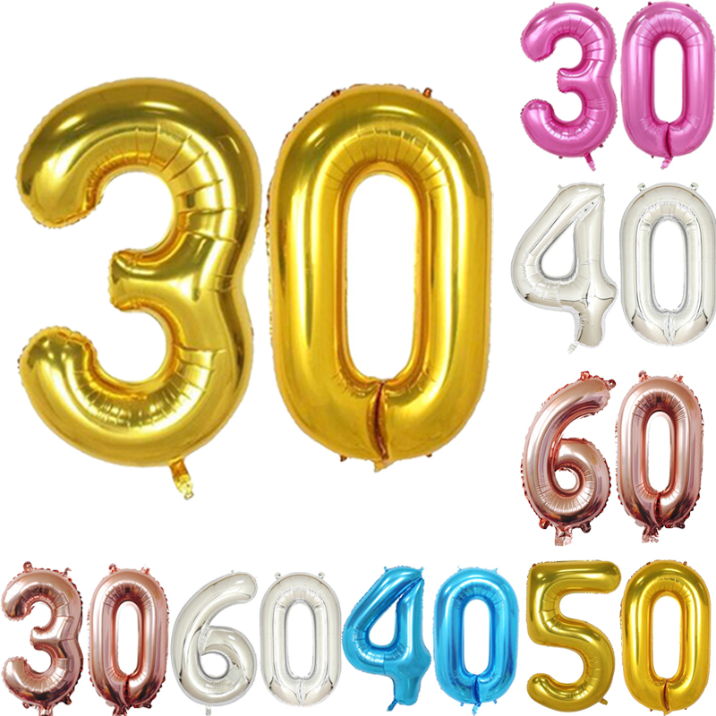 40 Inch Adult Birthday Party Ballons 30 50 60 Years Old Decorations Foil Balloons Anniversary Supplies In Accessories From