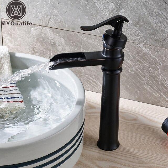 Pump Style One Handle Waterfall Basin Mixers Black Bronze Bathroom