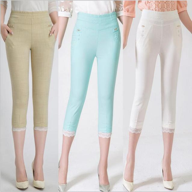 27-36 Plus Size Womens Leggins 2016 Fashion High Elastic Slim Was Thin Lace Feet Legings Cotton And Linen Capri Pants Hot BH886