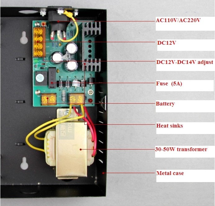 Door access control different controller dedicated power supply, power box wholesale dc12v 5a access control power supply controller