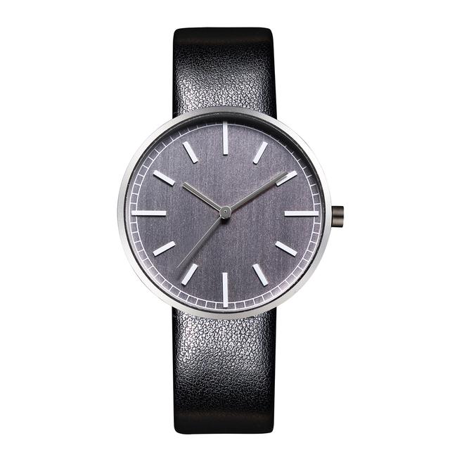 New Classic mercancías uniforme Estilo Pulseras Cuero Relojes Movimiento de Cuarzo Caja Redonda Cara Gris
