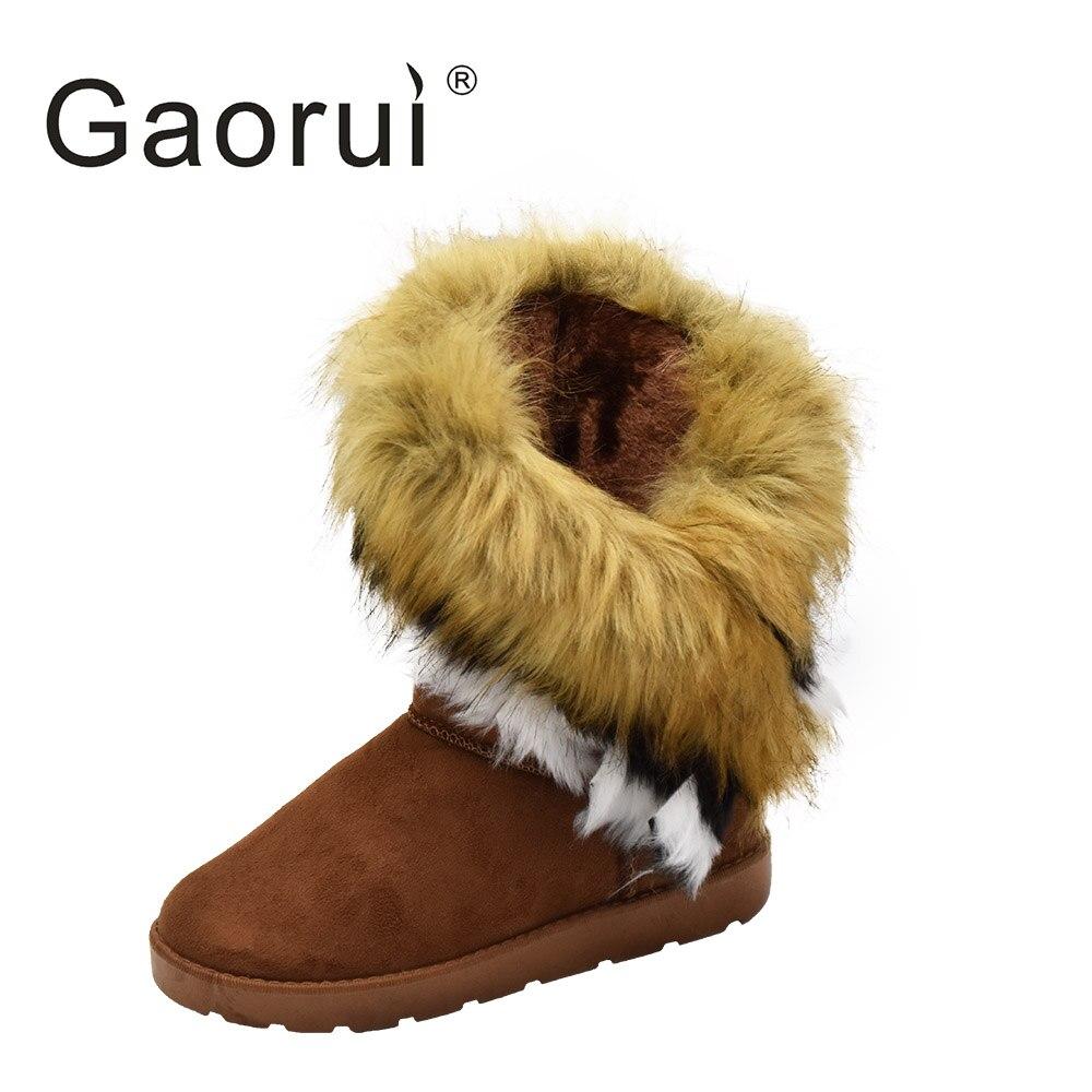 GAORUI fashion autumn and winter warm high long snow boots artificial faux fox rabbit fur leather tassel women's suede shoes