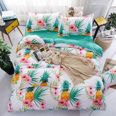 Nouveau Animal fruits fleurs ensembles de literie pour les filles mignon chien cactus motif imprimé couette housse de couette ensemble taies d'oreiller bleu - 2