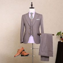 2016 Real Photo High Qulity Two Buttons Luxury Three Pieces Bridegroom Tuxedos Men Suits Cummerbund (Suit+Pants+Vest)
