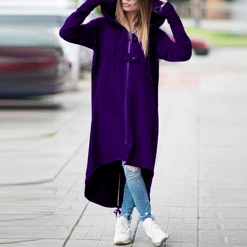 Spring Fashion Long Sleeve Hooded   Trench   Coat Solid Zipper Plus Size Velvet Long Coat Women Loose Overcoat Clothes