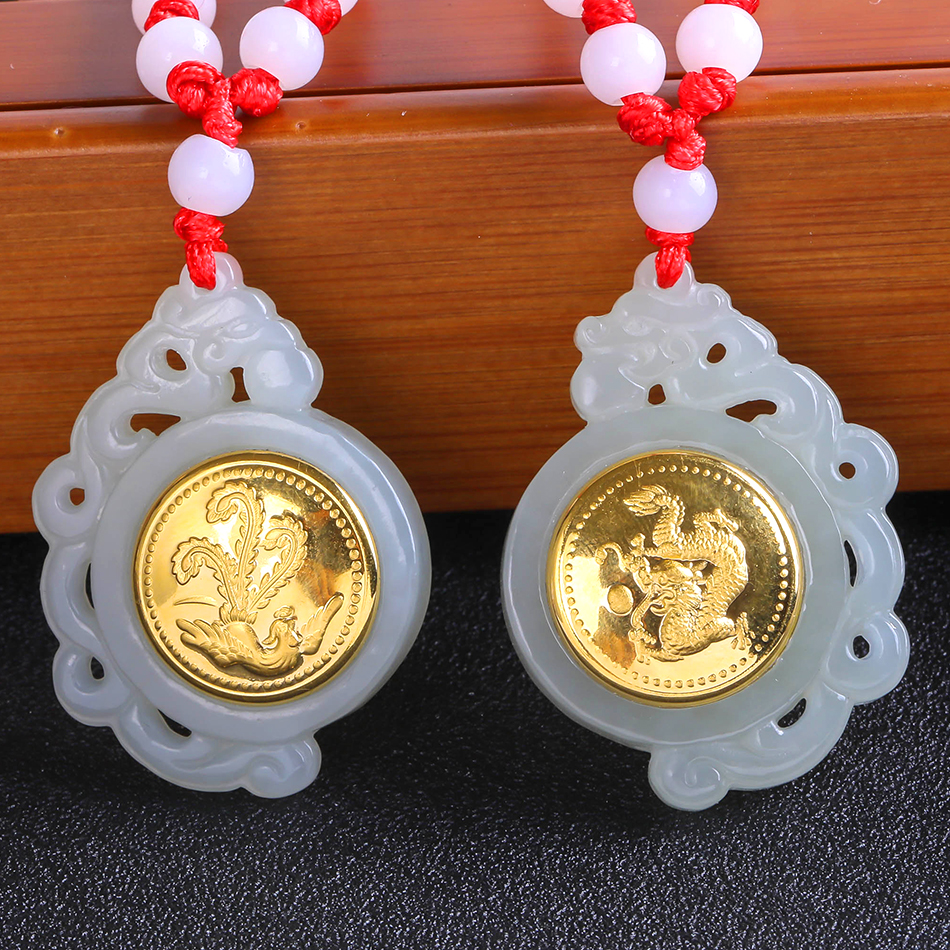 Gold Inlaid Jade Dragon and Phoenix with Pendant Jade Hetian jade Tokens a Pair of Jade Men and Women Fashion Jewelry Gifts купить недорого в Москве
