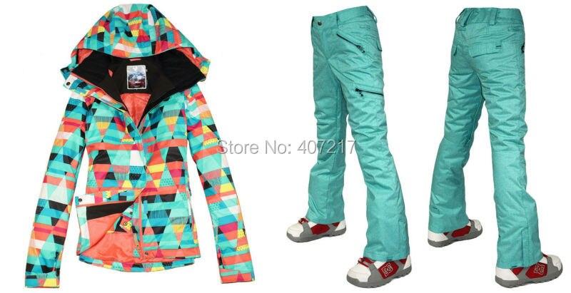 Prix pour 2015 hot femmes mesdames combinaison de ski snowboard vêtements de ski coloré figure géométrique veste et bleuâtre vert pantalon imperméable XS-L
