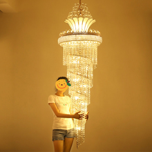 hot deal buy crystal chandeliers led modern gold chandelier lights fixture 3 white light colors dimmable european long stair hanging lamps
