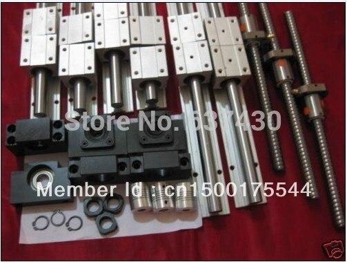 6 ensembles SBR16-300/900/1100mm linéaire rails + 3 ensembles 1605 vis à billes + 3 ensembles BKBF12 + 3 pcs 6.35x10mm coupleur