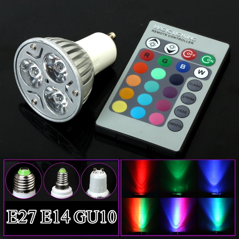 E27 GU10 E14 RGB <font><b>Led</b></font> <font><b>Bulb</b></font> Lamp AC110V 220V 230V <font><b>LED</b></font> Spot light Party Decoration RGB Lighting IR Remote Control 16 Color image