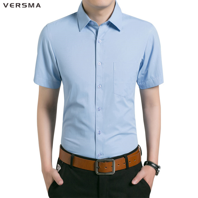 VERSMA 2017 White Casual Short Sleeve Shirt Men High Quality Cotton Slim Fit Chemise Camisa Men Classic Shirt Male Brand Clothes