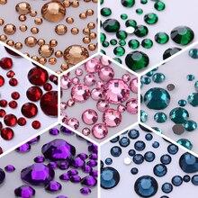 1000Pcs/bag 3D Nail Art Rhinestone Mix Sizes AB Colors Flat Bottom Chameleon Studs DIY Decorations for Nails