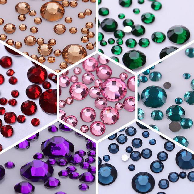 1000Pcs/bag Nail Rhinestone 3D Nail Art Mix Sizes Mix Colors