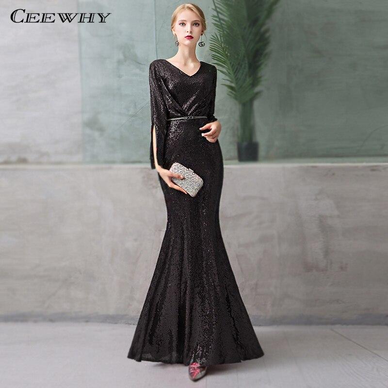 CEEWHY V-cou Noir Sirène Robe Élégante Robe de Soirée à Paillettes À Manches Longues Sequin Robe pour Dames Robe de Soirée Abendkleider