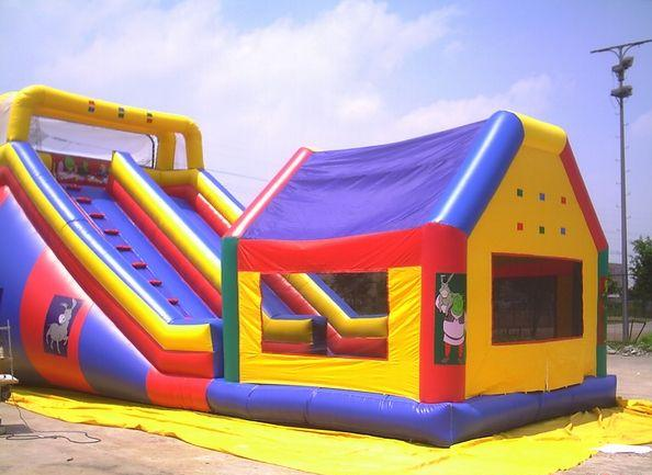 2016 Hight quality inflatable slide with bouncer combo jumping house for kids and adults
