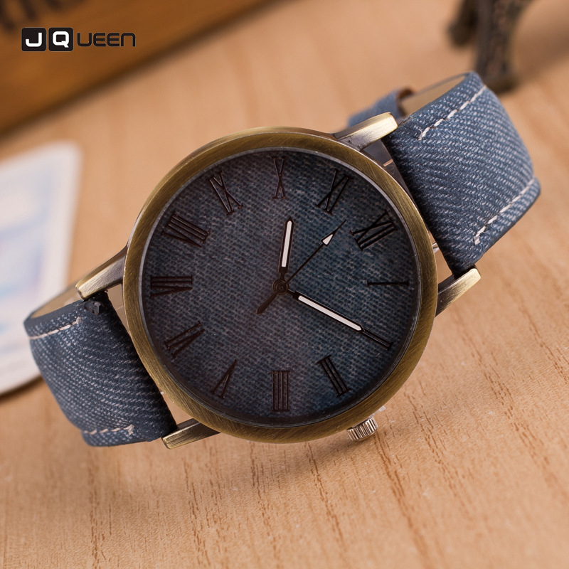 Luxury Brand Men font b Women b font Clock Retro Design Leather Analog Round Casual Cowboy