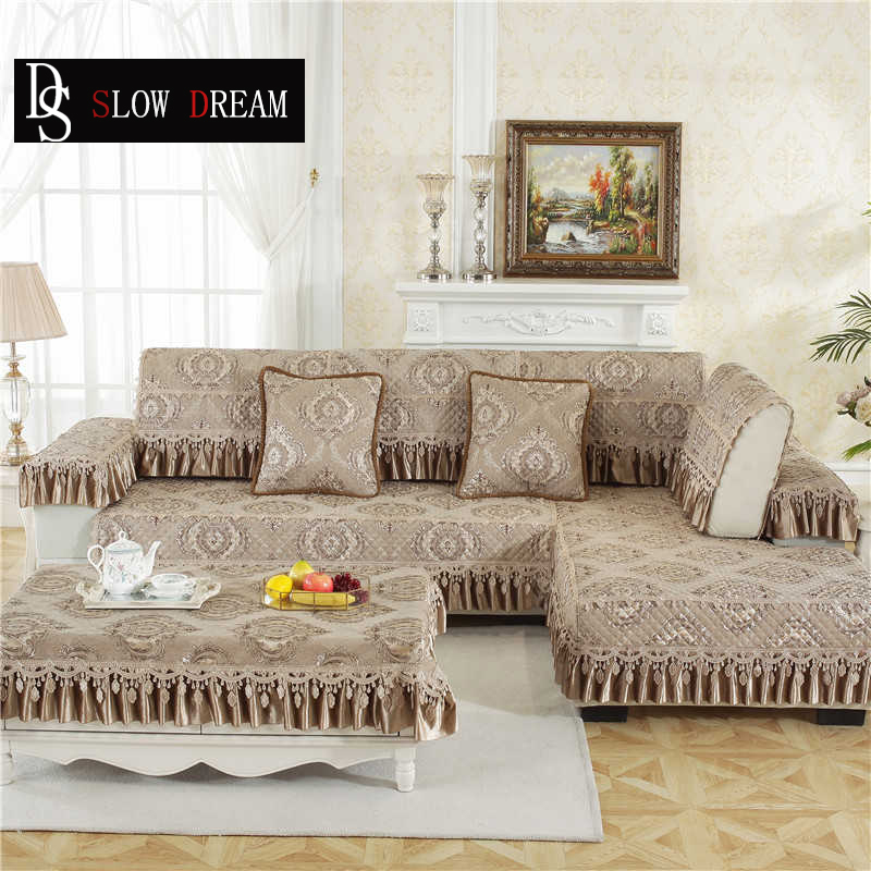 SLOWDREAM Euro Sofa Cover Couch Camel Luxury Lace Sofa Living Room Modern Plaid Corner Sofa Lower Pile Cushion Seat Covers