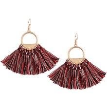 цена на 2019 New Ethnic Bohemian Tassel Earrings Red Tassel Dangle Earrings for Women Boho Tassel Fringe Earrings Vintage Jewelry