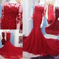 Халат De Soiree Longue Тюль Арабский мусульманские платья вечерние платья Цветы блёстки индивидуальный заказ вечернее платье GQ69
