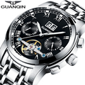 Relógios dos homens 2016 novo top de luxo logotipo da marca guanqin tourbillon automatic relógio luminoso do relógio de pulso de aço inoxidável à prova d' água