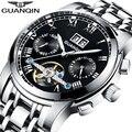 Watches Men 2016 New Luxury Top Brand Logo GUANQIN Tourbillon Automatic Clock Stainless Steel Waterproof Luminous Wrist Watch