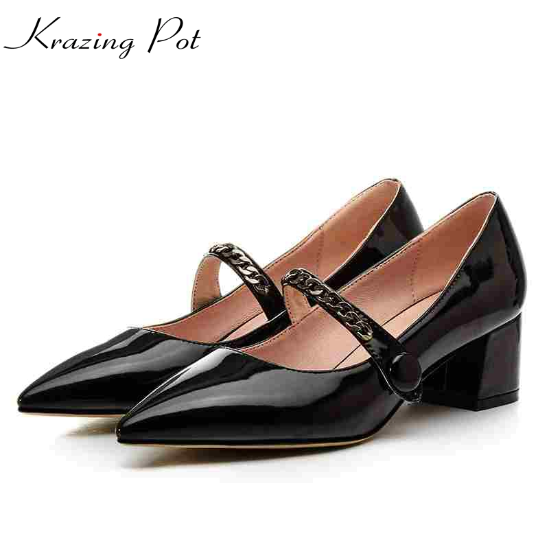 2017 krazing Pot women pumps slip on PU patent leather high heels solid pointed toe plus size medal chains nude work shoes L2f1 krazing pot 2017 fashion brand shoes patent genuine leather slip on pointed toe preppy style flower med heels women pumps l12