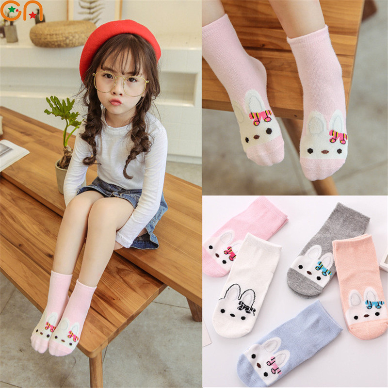 5 pairs/lot Spring,Autumn New Kids Cotton socks Girl Baby Infant cute Cartoon rabbit butterfly socks,For 2-12T Children gifts CN