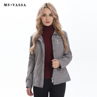 MS VASSA Ladies jacket Spring & Autumn Women jacket fashion turn down collar slim solid color coats happy size jacket plus size