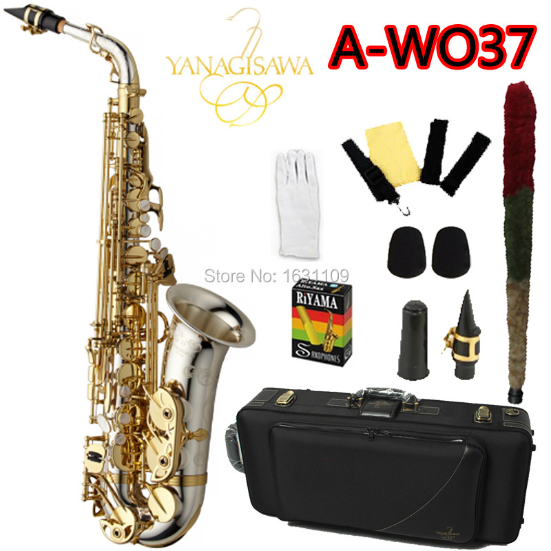 Brand NEW YANAGISAWA Alto Saxophone A-WO37 Nickel Plated Gold Key Professional Sax Mouthpiece With Case and Accessories