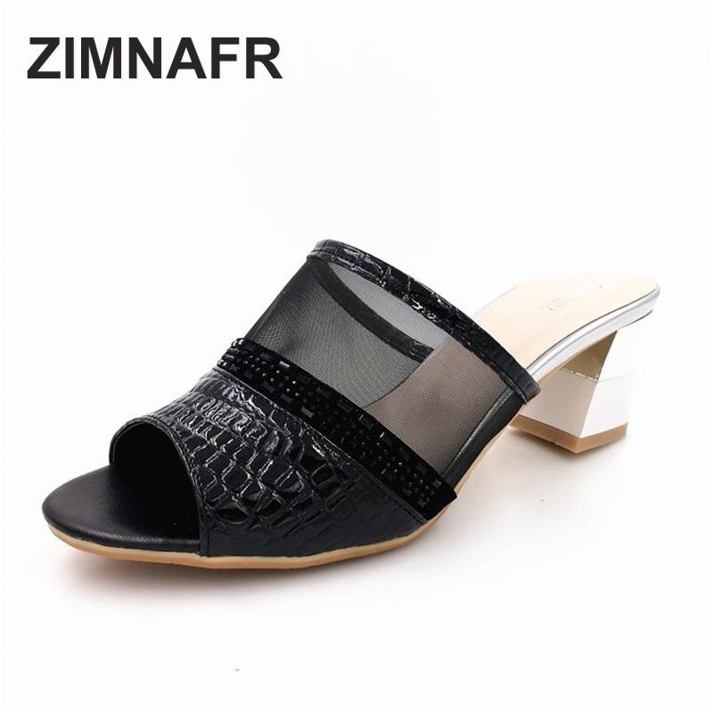 ZIMNAFR BRAND 2017 yay yeni qadın terlikləri orijinal dəri yüksək topuqlu təsadüfi və ölçülü boşluqlu ağız sərin qadın sandal