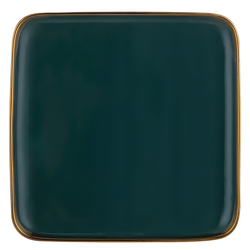 Green Ceramic Dinner Set Gold Inlay 4