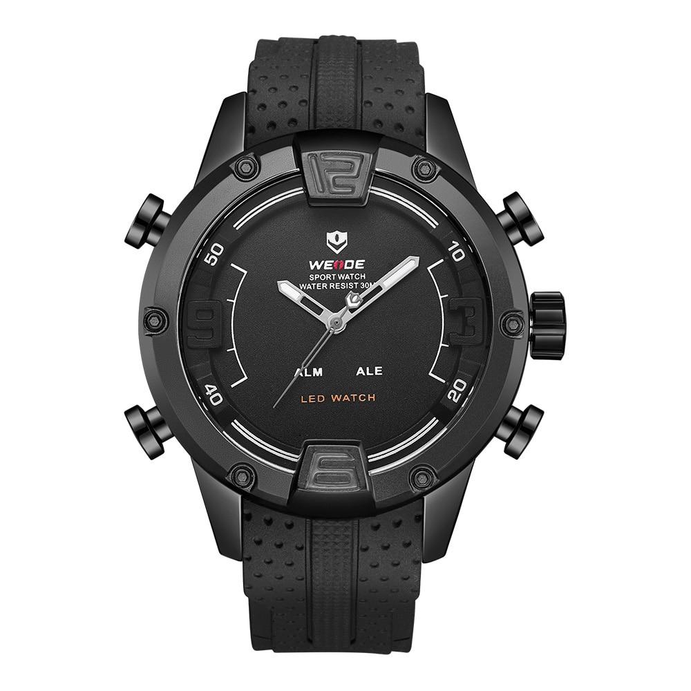 WEIDE Men Sport Watch Quartz Digital LED Dual Black Bracelet Strap Wristwatches Male Clock Military Relogio Masculino 2018 цена