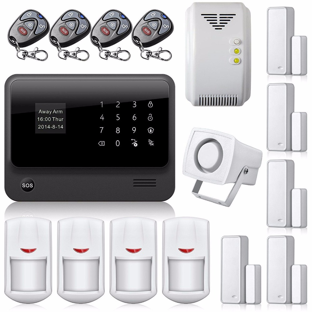 WiFi House Alarm System Touch Screen Wireless GSM Alarm System Home Security with Gas Leak Sensor Door Contact PIR Detector