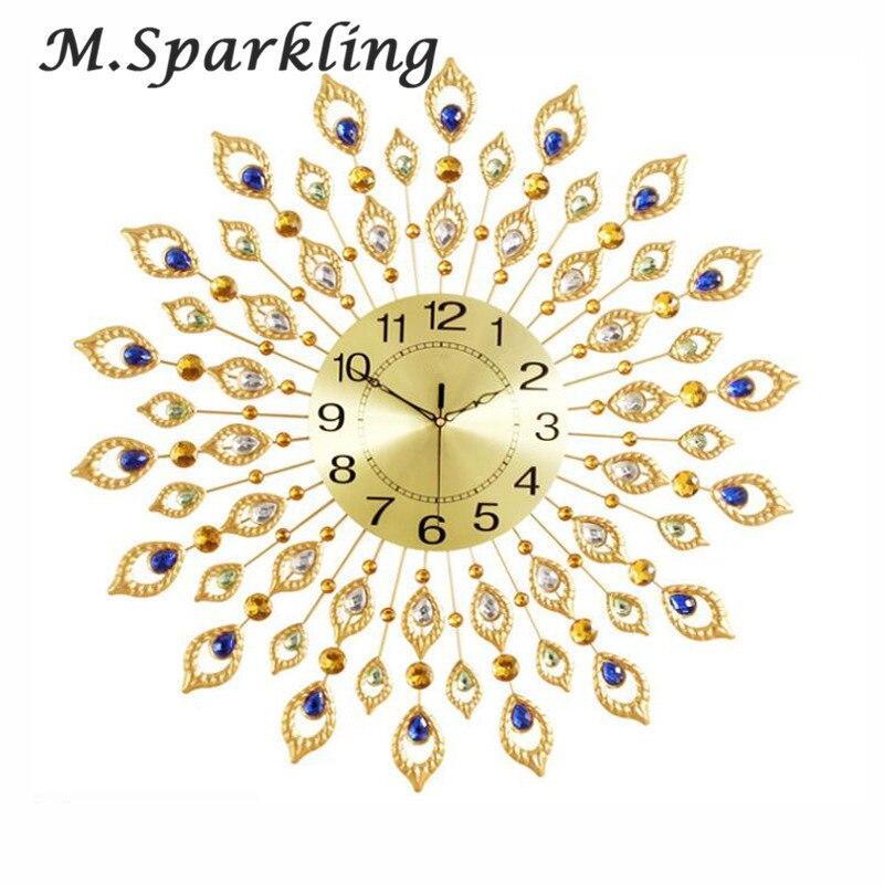 М. сверкающие большие настенные часы акрил кристалл + Стекло + Металл DIY Павлин Алмазный краткое настенные часы для Декор в гостиную