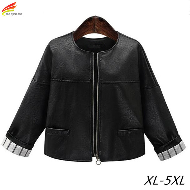 Plus Size Women Clothing 5XL 2018 Winter Black Leather Bomber Jacket For Woman Long Sleeve Euro Style Short Jackets And Coats