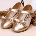 2017 New Flat Heel Rivets Bow tie Kids Girl shoes Fashion Children Girl Wedding Shoes Ankle Strap Girls Dress Shoes Gold