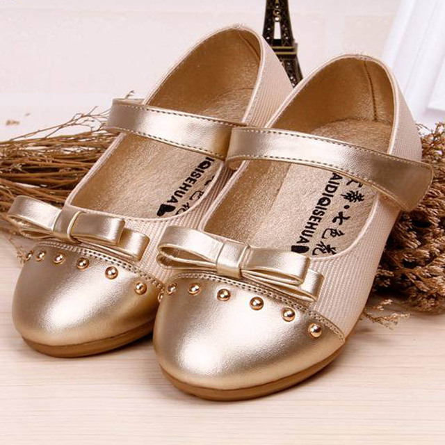 6f359132401b 2017 New Flat Heel Rivets Bow tie Kids Girl shoes Fashion Children Girl  Wedding Shoes Ankle