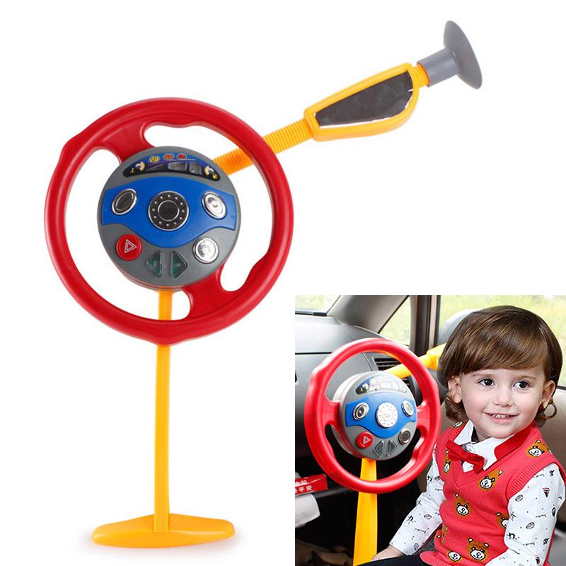 nueva llegada nios juguete juego electrnico volante conductor asiento trasero del coche con las luces de