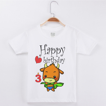2019 New Products Best Selling Birthday Boys T-shirt Cow Printing Cotton Kids Clothes Girls Tops Children Clothing Tee Shirts